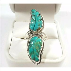 Jewelry - 925 Double Carved Turquoise Feather Ring